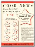 American Food Laboratories Inc 1943 vintage ad ice cream Frostex news