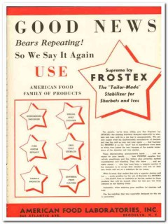 American Food Laboratories Inc 1943 vintage ad ice cream Frostex news