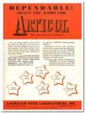 American Food Laboratories Inc 1943 vintage ad ice cream Frostex word