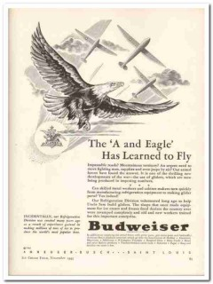 Anheuser Busch Inc 1943 vintage ad ice cream refrigeration Eagle Fly