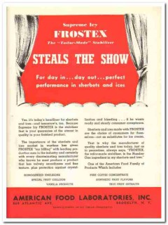 American Food Laboratories Inc 1943 vintage ad ice cream Frostex show
