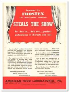 American Food Laboratories Inc 1943 vintage ad ice cream Frostex show