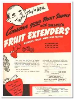 Balch Flavor Company 1943 vintage ad ice cream fruit extenders