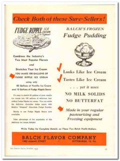 Balch Flavor Company 1943 vintage ad ice cream fudge ripple pudding 1