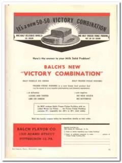 Balch Flavor Company 1943 vintage ad ice cream victory combination
