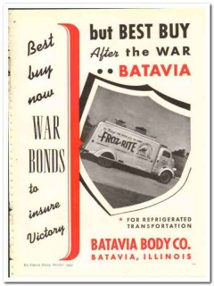 Batavia Body Company 1943 vintage ad truck ice cream Opelina war bonds