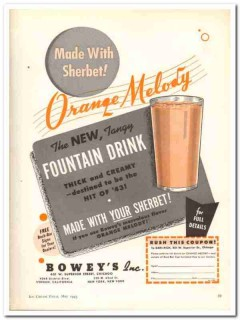 Boweys Inc 1943 vintage ad ice cream Orange Melody sherbet drink