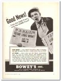 Boweys Inc 1943 vintage ad ice cream flavors Good News war home front