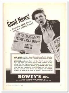 Boweys Inc 1943 vintage ad ice cream flavors Good News war home front