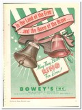 Boweys Inc 1943 vintage ad ice cream Land Free Home Brave Christmas