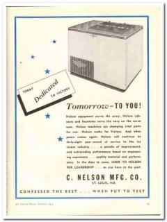C Nelson Mfg Company 1943 vintage ad ice cream dedicated victory