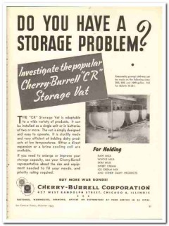 Cherry-Burrell Corp 1943 vintage ad ice cream storage vat CR holding