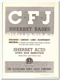 Cleveland Fruit Juice Company 1943 vintage ad ice cream Sherbet Bases