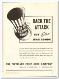 Cleveland Fruit Juice Company 1943 vintage ad ice cream attack bonds