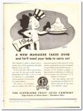 Cleveland Fruit Juice Company 1943 vintage ad ice cream new manager