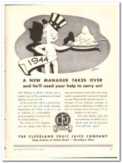 Cleveland Fruit Juice Company 1943 vintage ad ice cream new manager