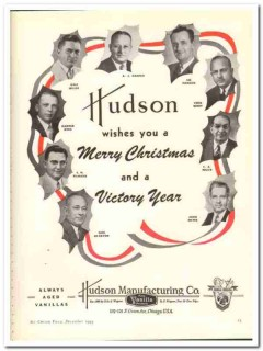 Hudson Mfg Company 1943 vintage ad ice cream Merry Christmas victory