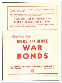 J Hungerford Smith Company 1943 vintage ad ice cream More War Bonds