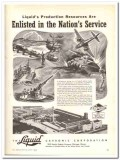 Liquid Carbonic Corp 1943 vintage ad ice cream Enlisted Nation Service