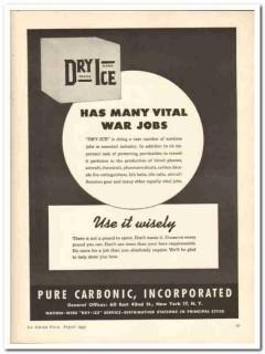 Pure Carbonic Inc 1943 vintage ad ice cream vital war jobs