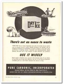 Pure Carbonic Inc 1943 vintage ad ice cream war jobs waste