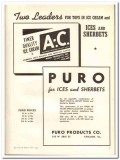 Puro Products Company 1943 vintage ad ice cream two leaders sherbets