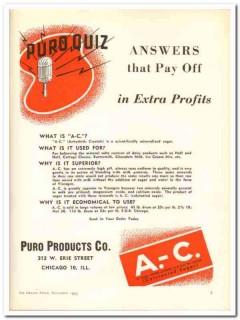 Puro Products Company 1943 vintage ad ice cream extra profits