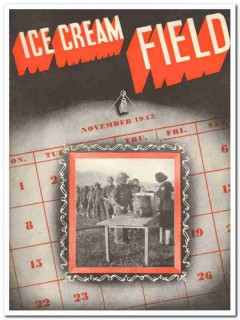 Ice Cream Field 1943 Nov vintage magazine cover Thanksgiving Soldiers