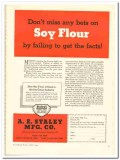 A E Staley Mfg Company 1944 vintage ad ice cream Soy Flour facts
