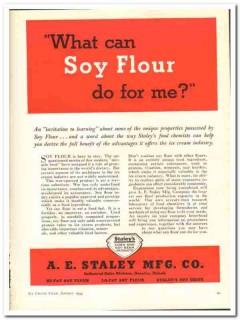 A E Staley Mfg Company 1944 vintage ad ice cream invitation learning