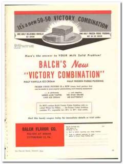 Balch Flavor Company 1944 vintage ad ice cream Victory Combination