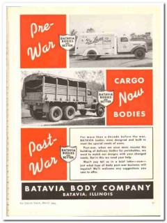 Batavia Body Company 1944 vintage ad truck ice cream Pre-War Post-War