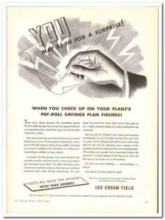 Ice Cream Field 1944 vintage ad ice cream payroll saving plan surprise