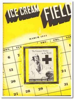 Ice Cream Field 1944 March vintage magazine cover Red Cross War Fund