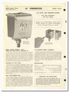 A3 Products Inc 1959 vintage oil gas catalog switch pressure cut-off