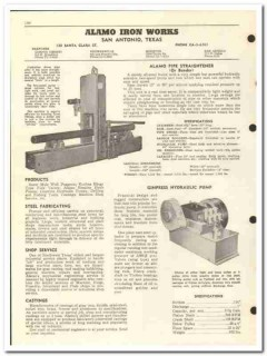 Alamo Iron Works Inc 1959 vintage oil gas catalog pipe straightener