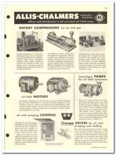 Allis-Chalmers 1959 vintage oil gas catalog compressors engines pumps