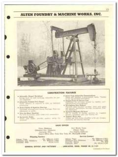 Alten Foundry Machine Works Inc 1959 vintage oil gas catalog pumping