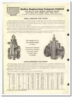 Audley Engineering Company Ltd 1959 vintage oil gas catalog plug valve