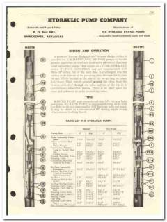 Hydraulic Pump Company 1959 vintage oil catalog oilfield V-K by-pass