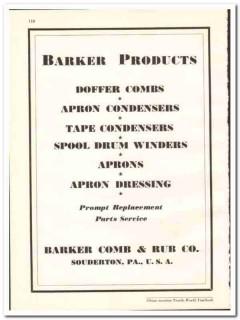 Barker Comb Rub Company 1938 vintage textile ad Doffer apron condenser
