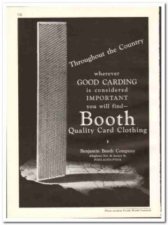 Benjamin Booth Company 1938 vintage textile ad card clothing quality