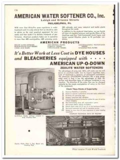 American Water Softener Company 1938 vintage textile ad Zeolite filter