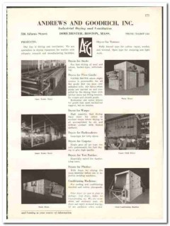 Andrews Goodrich Inc 1938 vintage textile ad industrial drying dryers