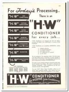 Industrial Dryer Corp 1938 vintage textile ad H-W Conditioner yarn
