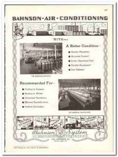 Bahnson Company 1938 vintage textile ad air conditioning humiduct
