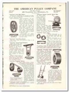 American Pulley Company 1938 vintage industrial ad drives shaft collar