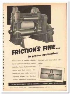 Appleton Machine Company 1954 vintage textile ad friction calender
