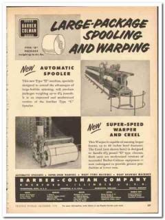 Barber-Colman Company 1954 vintage textile ad large-package spooling