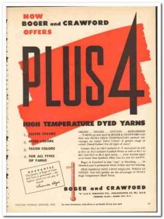 Boger Crawford Inc 1954 vintage textile ad dyed yarns high temperature